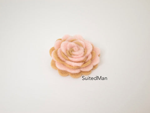 Lapel Flower, Felt, Two Tone, Light Pink/Mocha Colorway