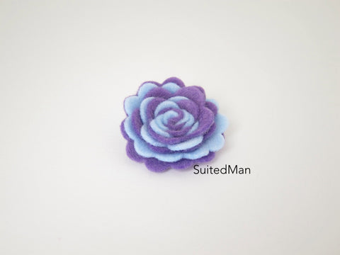 Lapel Flower, Felt, Two Tone, Baby Blue/Lavender Colorway