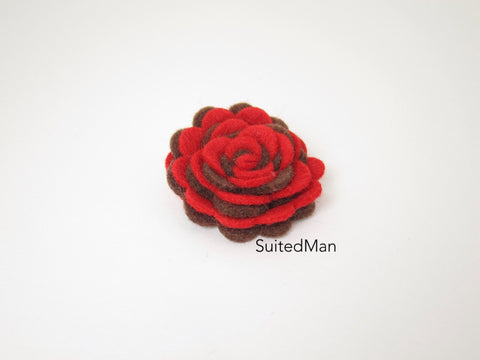 Lapel Flower, Felt, Two Tone, Red/Brown Colorway