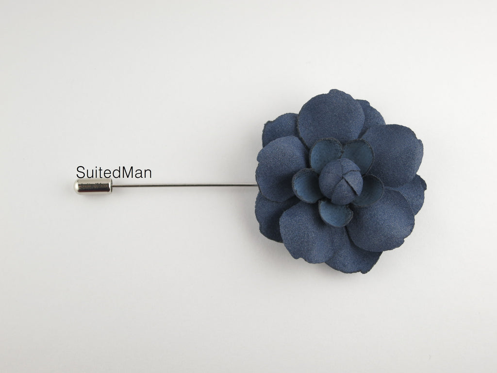 Lapel Flower, Rose en Bloom, Indigo Blue - SuitedMan