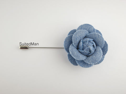 Lapel Flower, Denim Camellia, Light Blue
