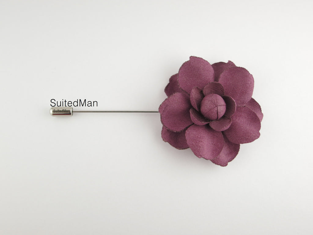 Lapel Flower, Rose en Bloom, Mauve - SuitedMan