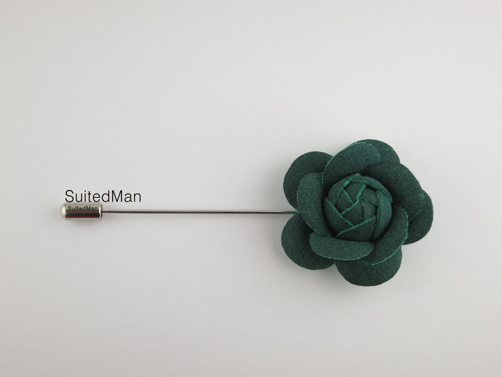 Lapel Flower, Petite Leather Camellia, Forest Green - SuitedMan