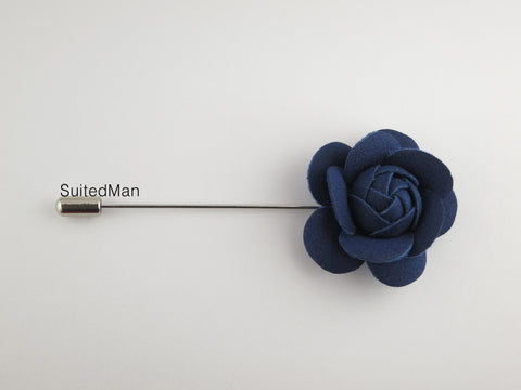 Lapel Flower, Petite Leather Camellia, Navy - SuitedMan