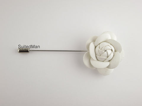 Lapel Flower, Petite Leather Camellia, White - SuitedMan