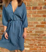 Load image into Gallery viewer, Cotton midi shirt dress, front view