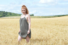 Load image into Gallery viewer, Ethically made summer mini dress with racer back and shoestring straps, front view