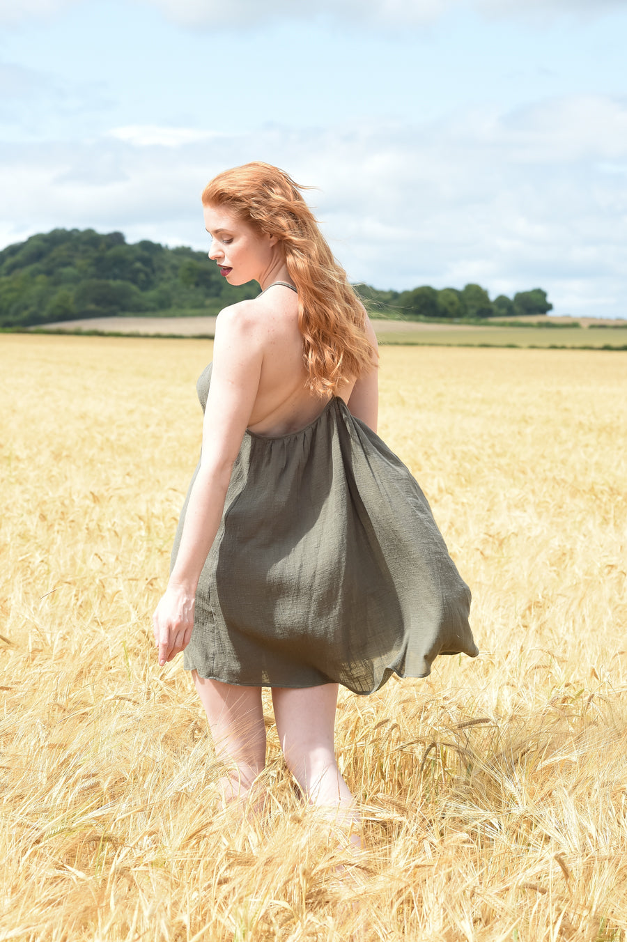 Ethically made summer mini dress with racer back and shoestring straps