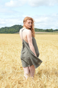 Ethically made summer mini dress with shoestring straps, back view showing racer back