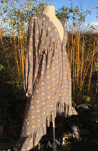 Load image into Gallery viewer, Ethically made maxi dress with ruffle hem, long puff sleeve and deep V neck. Grey print