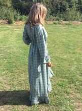 Load image into Gallery viewer, Ethically made maxi dress with ruffle hem, long puff sleeve and deep V neck. Back view