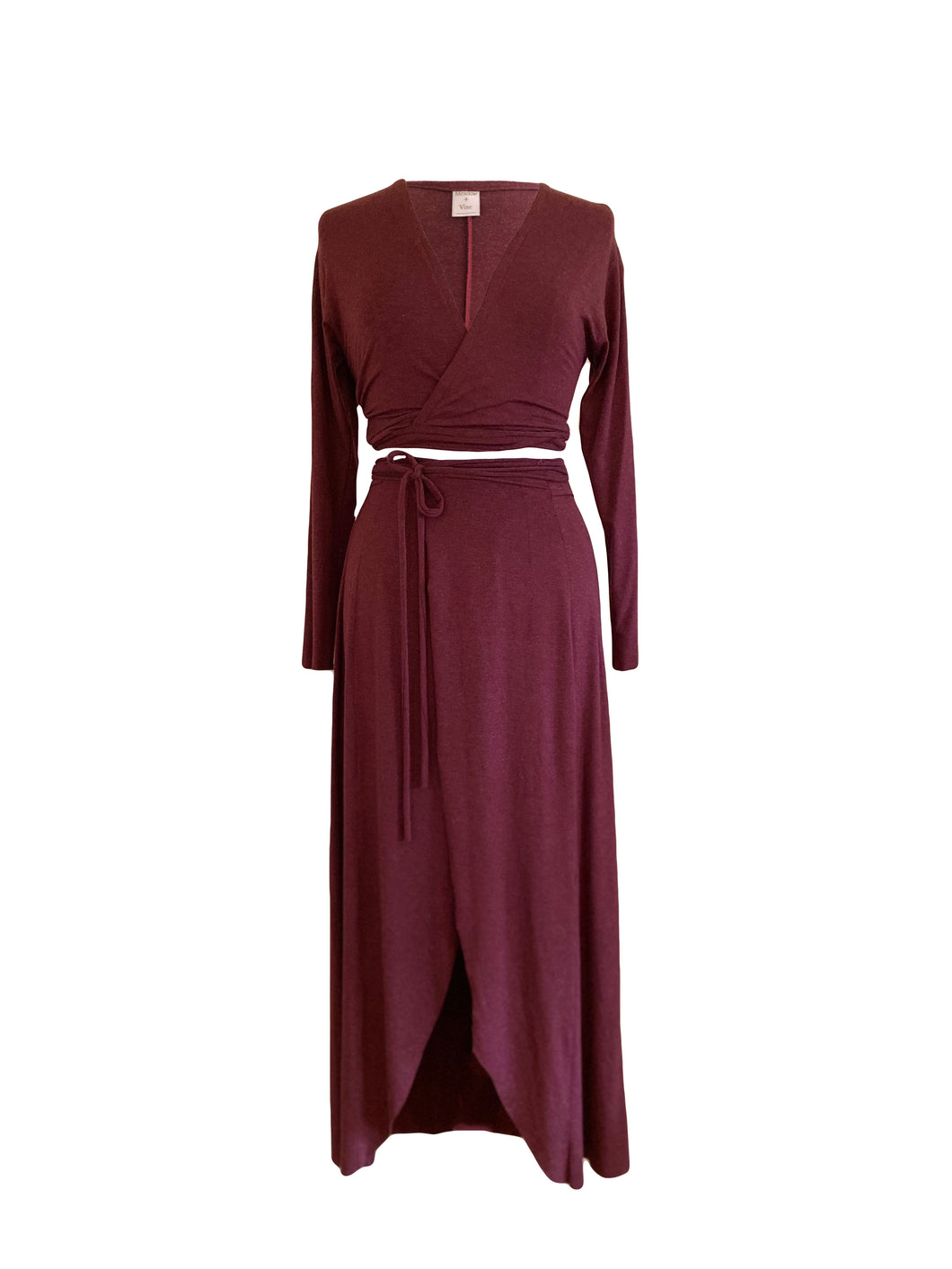 Ethically made co ord, stretch wrap maxi skirt with front split and tie waist