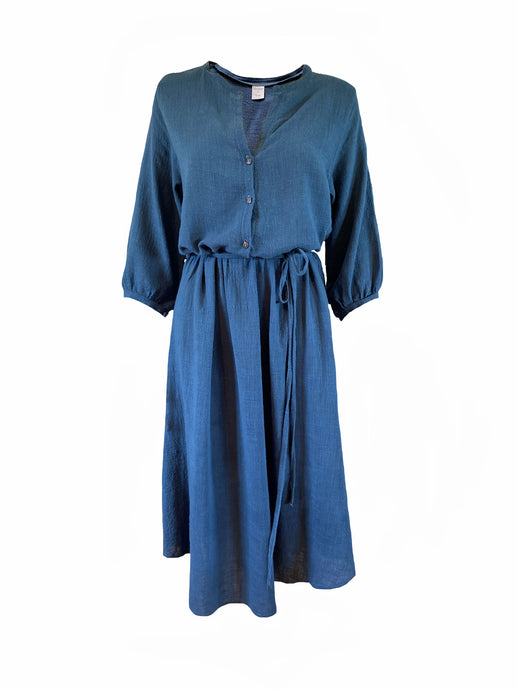 Cotton midi shirt dress with button down bodice and tie waist