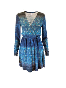Wool mix stretch wrap mini dress with long sleeves. Ethnic print