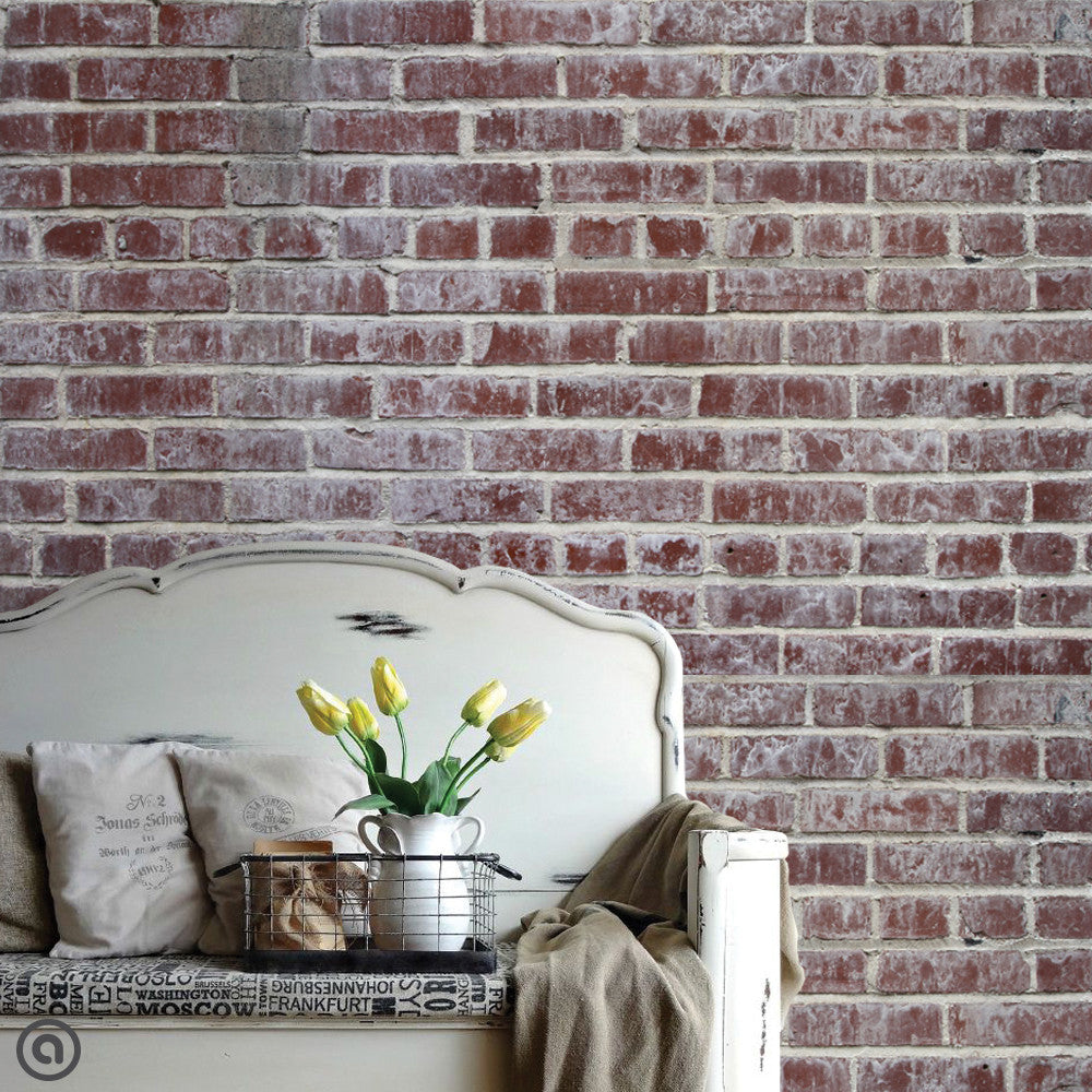Whitewashed Brick Wallpaper Fabric Wallskins Peel Stick