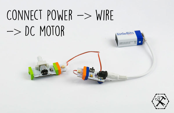 Connect power to wire to dc motor