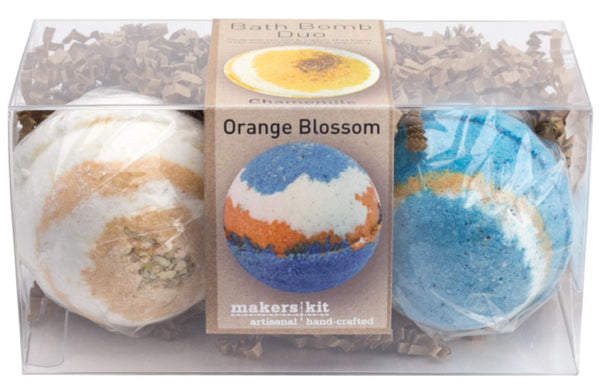 All-Natural Bath Bomb Set made with Organic Shea Butter (Chamomile and Orange Blossom 2-Pack)