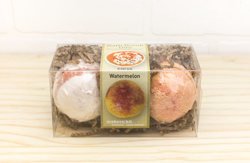 All-Natural Bath Bomb Set made with Organic Shea Butter (Citrus and Watermelon 2-Pack)