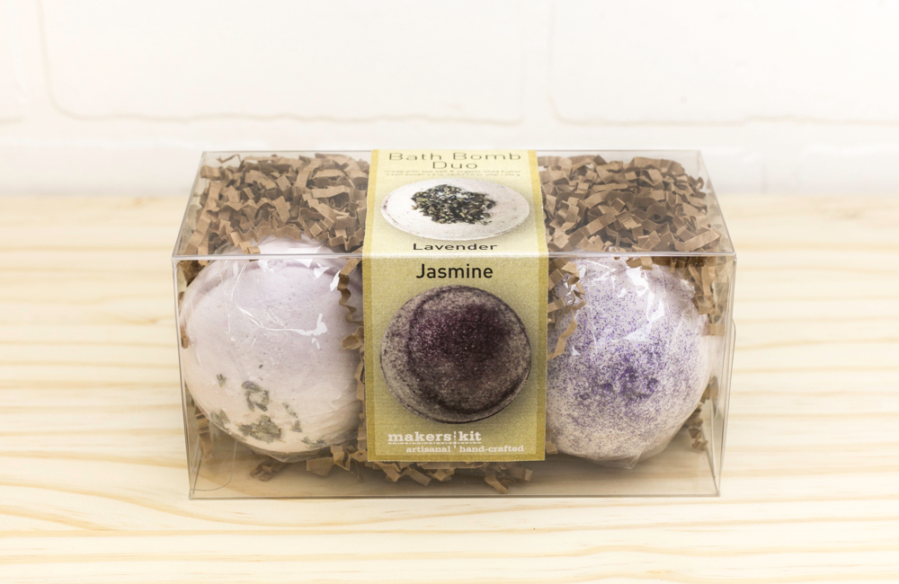 All-Natural Bath Bomb Set made with Organic Shea Butter (Lavender and Jasmine 2-Pack)