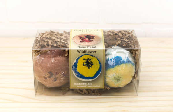 All-Natural Bath Bomb Set made with Organic Shea Butter (Rose and Wildflower 2-Pack)