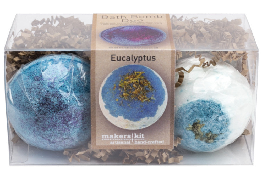 All-Natural Bath Bomb Set made with Organic Shea Butter (Sandalwood and Eucalyptus 2-Pack)