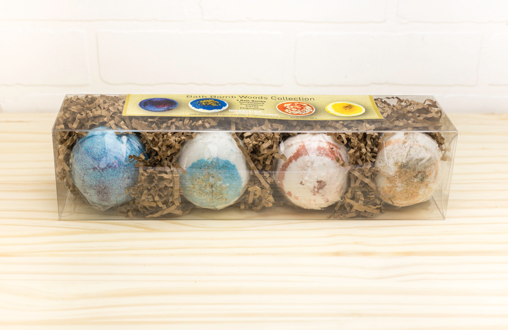 All-Natual Bath Bomb Collection- 4 Large Bath Bombs Made with Organic Shea Butter (The Woods Collection- Sandalwood, Eucalyptus,Citrus and Chamomile)