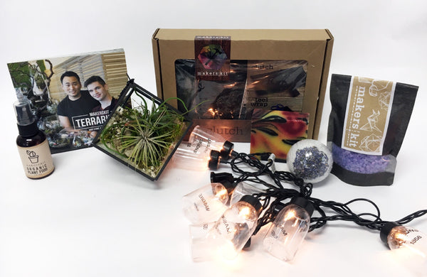Gift Pack | Vegan Leather Kit + Cube Airplant Terrarium + Mason Lights