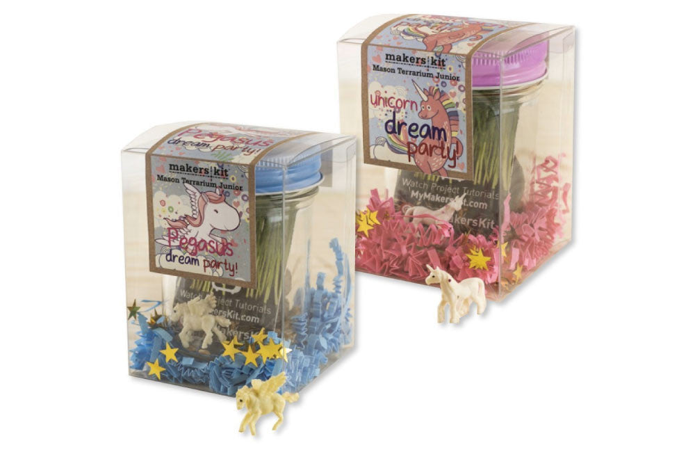 Unicorn and Pegasus Dream Party Mason Terrarium Junior, 2-Pack Gift Set