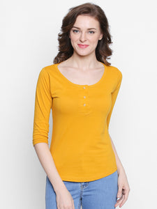 Yelllow Coloured 3/4 th Sleeve t-shirt