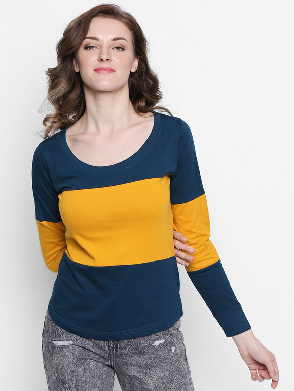 Women's Cotton Colourblock Tshirt With Cuffs