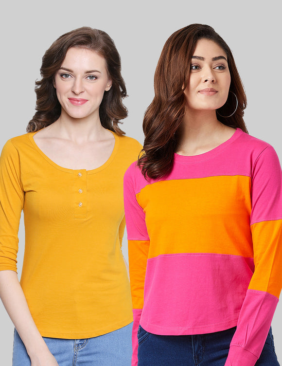 Cotton Yellow & Pink  Color Round Neck Full  Sleeve
