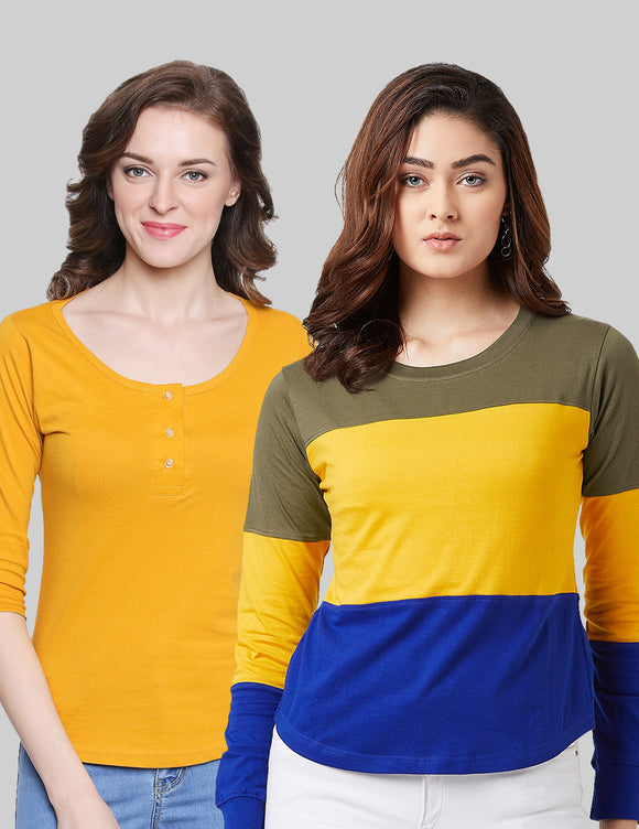 Cotton Yellow & Mustard  Color Round Neck Full  Sleeve