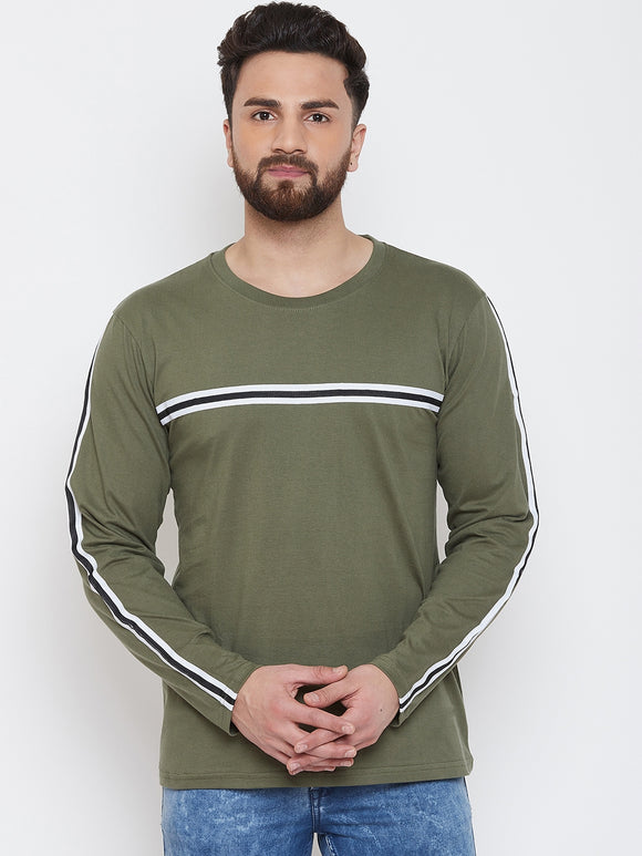 Green Colour Round Neck Striped Tshirt