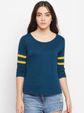 Women's Cotton Solids Sporty Striped Sleeves Petrol Green T-shirt