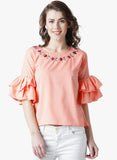 Women's  Crepe Peach Bell Sleeve Top