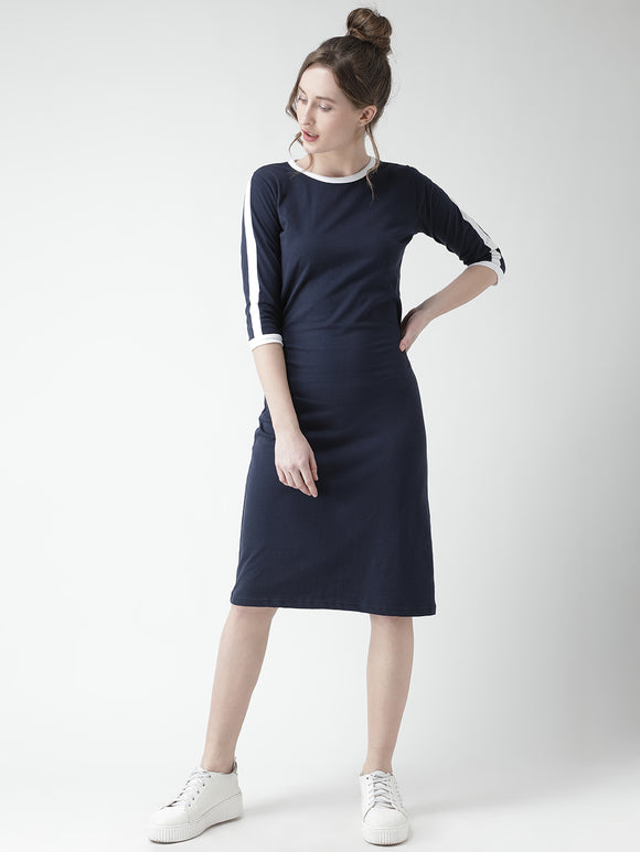 3/4 th Sleeve Nevy Blue Coloured Dress