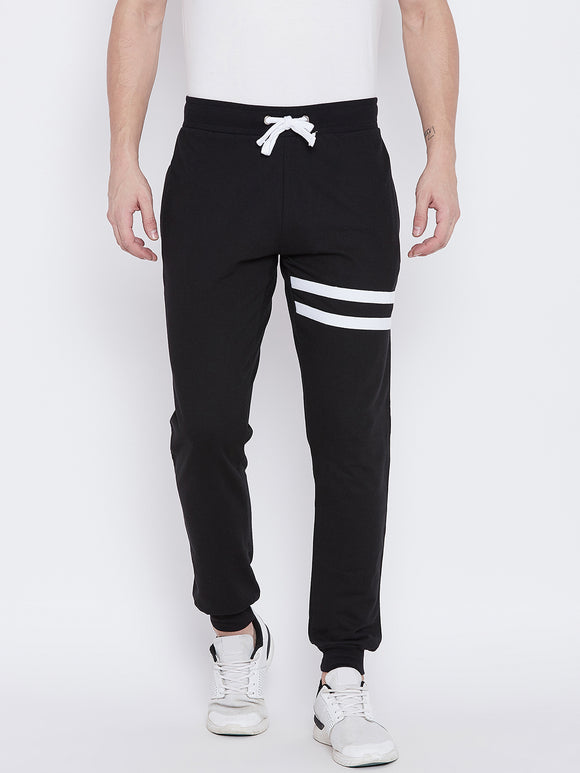 Cotton  Black Striped Track pants