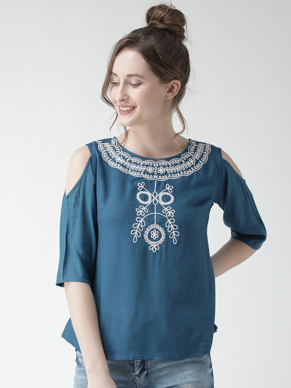 Women's Rayon  Cold Sholder Round  Neck Half sleeve Top