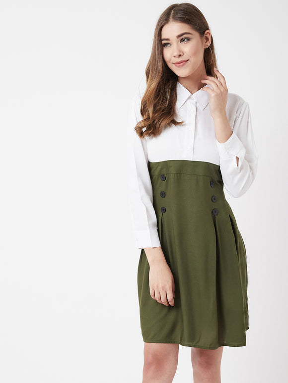 The Dry State Women Rayon Green Colour Dress