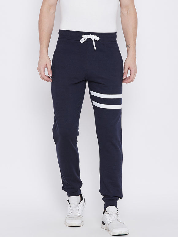 Men's Cotton Blue   colour Striped Track pants