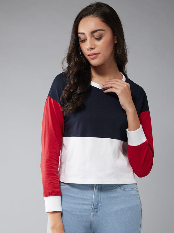 Multi  Color Colourblocked Full sleeve Tshirt
