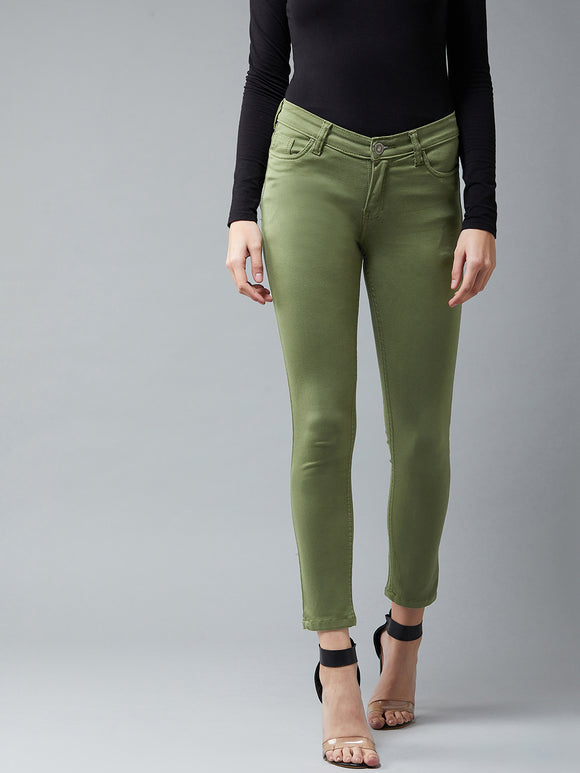Olive Green Coloured Ankle Length Jeans