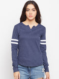 Women's Cotton Blue Solid Full sleeves Tshirt