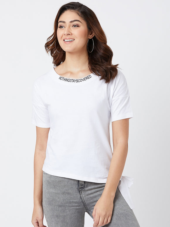 White Colour Half Sleeve Solid T-shirt