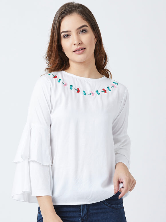 Women's Cotton White Bell Sleeves Top