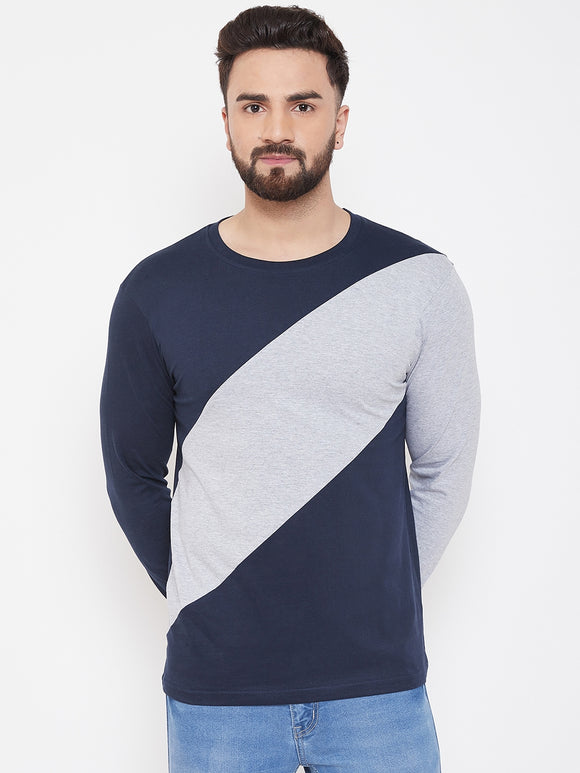 Blue And Grey Colour Colourblocked Full Sleeve tshirt