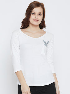 Women's Cotton White Abstact  3/4  sleeves Tshirt