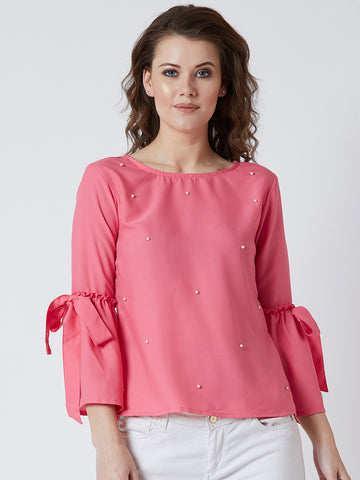 Women's Crape Pink Colored  Pearled Bell Sleeve Top