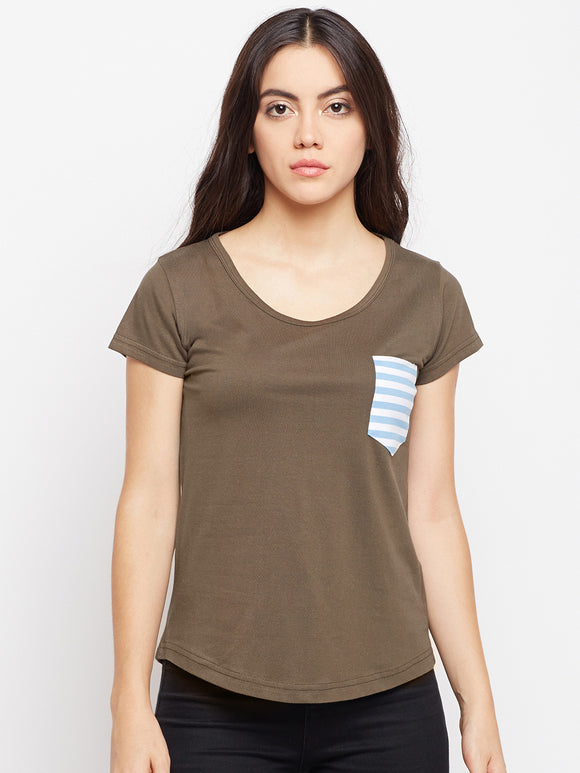 Women's Cotton Brown Abstract Half sleeves T-shirt