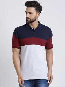Cotton Colorblocked  Short sleeve Polo Tshirt